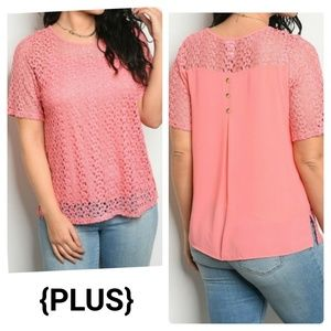 Coral Pink Lace Blouse Lined Buttons Sheer